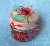 Vasetto Hawaii vetro dipinto e fiore plastica pet dipinto
