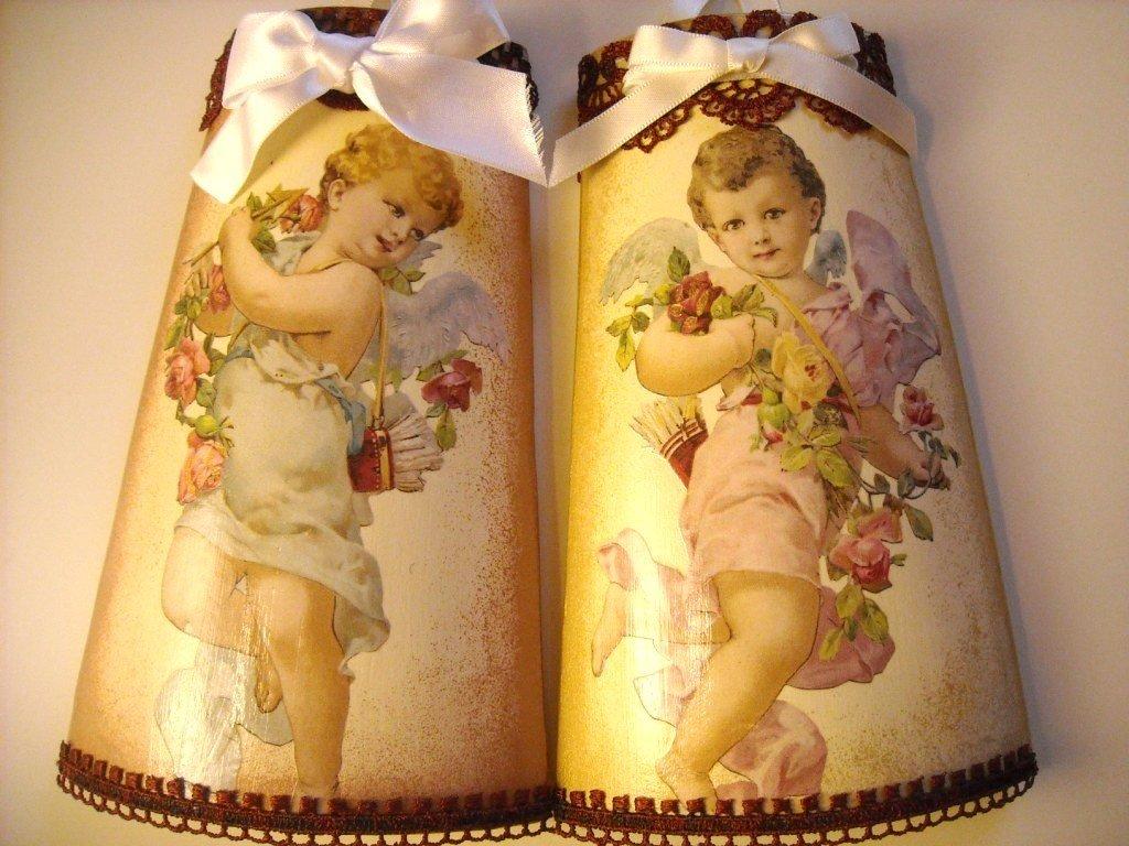 Tegole degli angeli gemelli. Decorati a mano. Idea regalo!