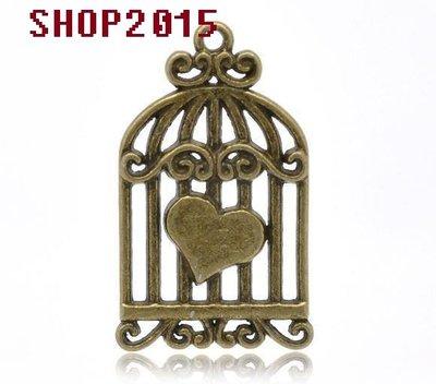 Charm ciondolo gabbia con cuore Color Bronzo 3,4×2 cm