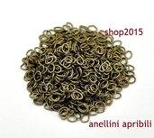 50 anellini anelli apribili ovali 5x4 mm bronzo