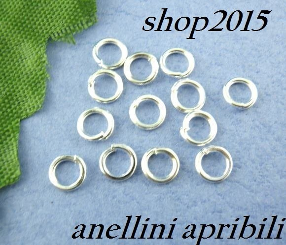 25 anellini , anelli apribili 6 mm tono argentato