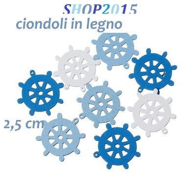 5,  Mix Ciondoli charms timone In Legno 2,5 cm x2,5 cm