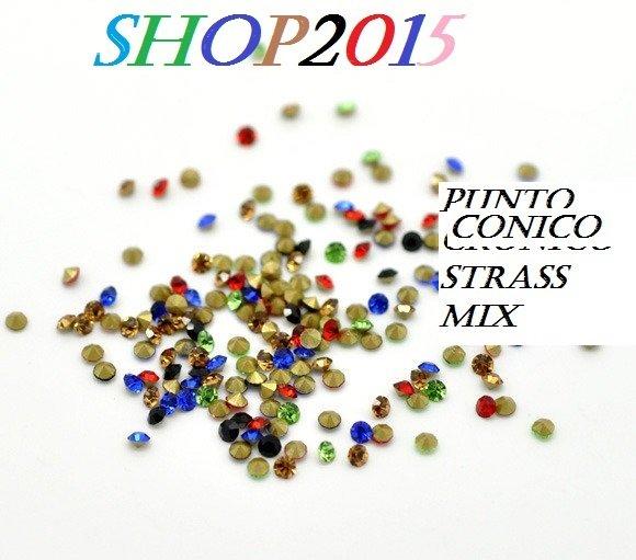 25 pz Mix Strass Termoadesivi Punta Hotfix ss6 2×1.3mm