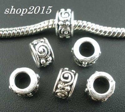 distanziatore perla a foro largo 8×5 mm argento antico