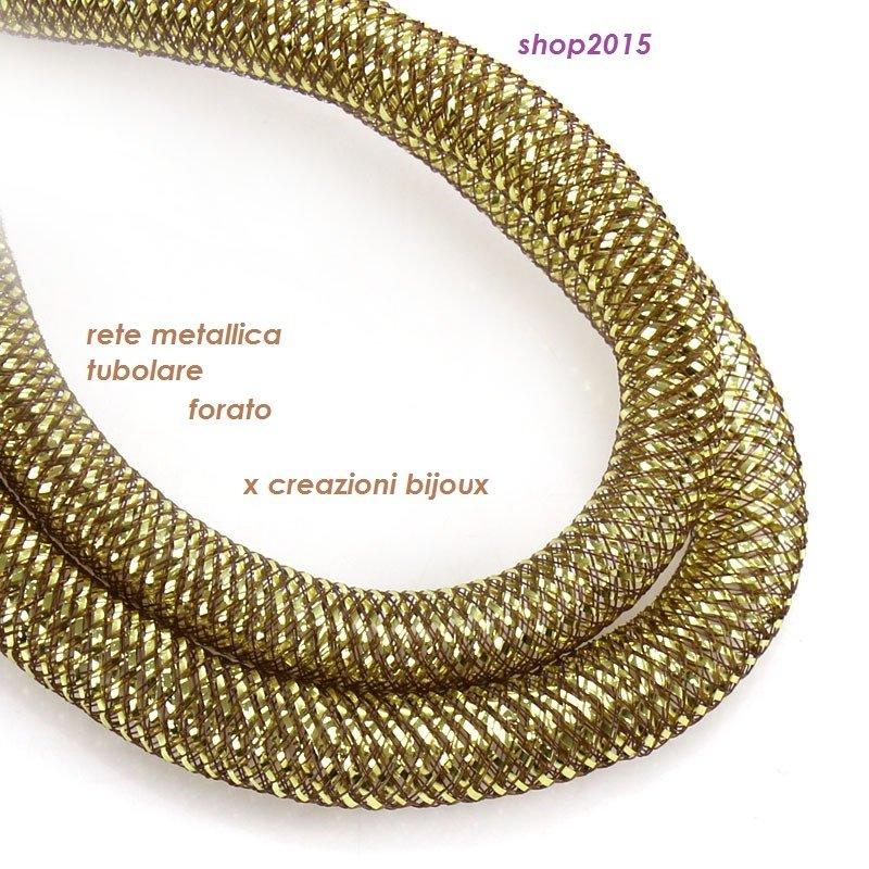 1 mt  rete tubolare in nylon elastico caffè foro 1 cm x creazioni bijoux