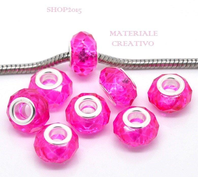 perla Sfaccettata in vetro trasparente fucsia a foro largo 12x9 mm