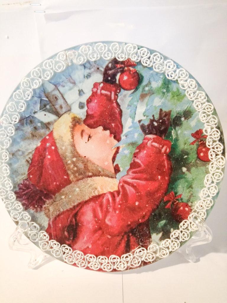 Piatto di vetro natalizio