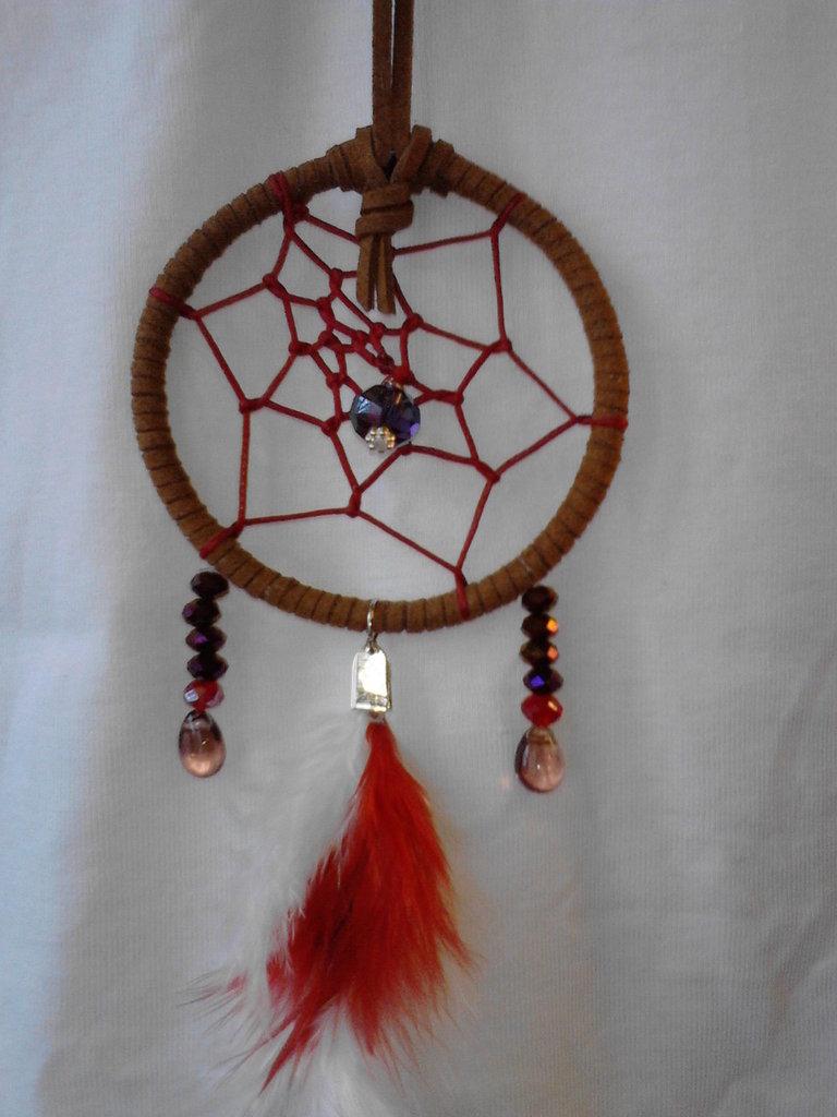 Acchiappasogni piccolo con perle e piume - Dreamcatcher fatto a mano