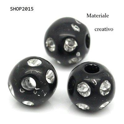 10 Distanziatori perle  8 mm Sfera Nero con Pois tipo strass