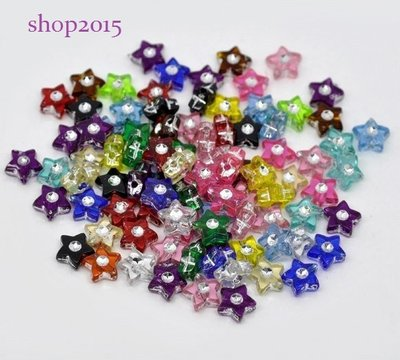 20 Distanziatori perle i forma stella con strass colori mix misura 9×9