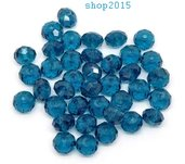 perla Sfaccettata in vetro mezzo cristallo Vetro Blu Pavone 8x6 mm