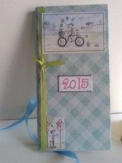 Agenda 2017 tascabile settimanale verde pastello decorata a mano con adesivi e nastrino