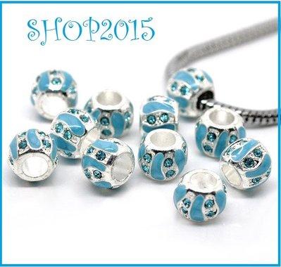 perla a foro largo smaltato azzurro 9 mm con strass foro 4,5 mm