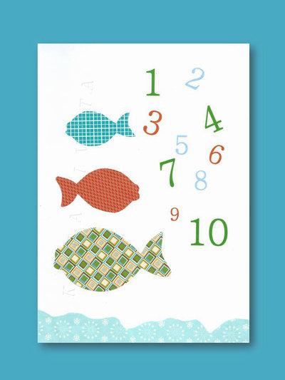 Stampa con  pesciolini colorati  e  numeri