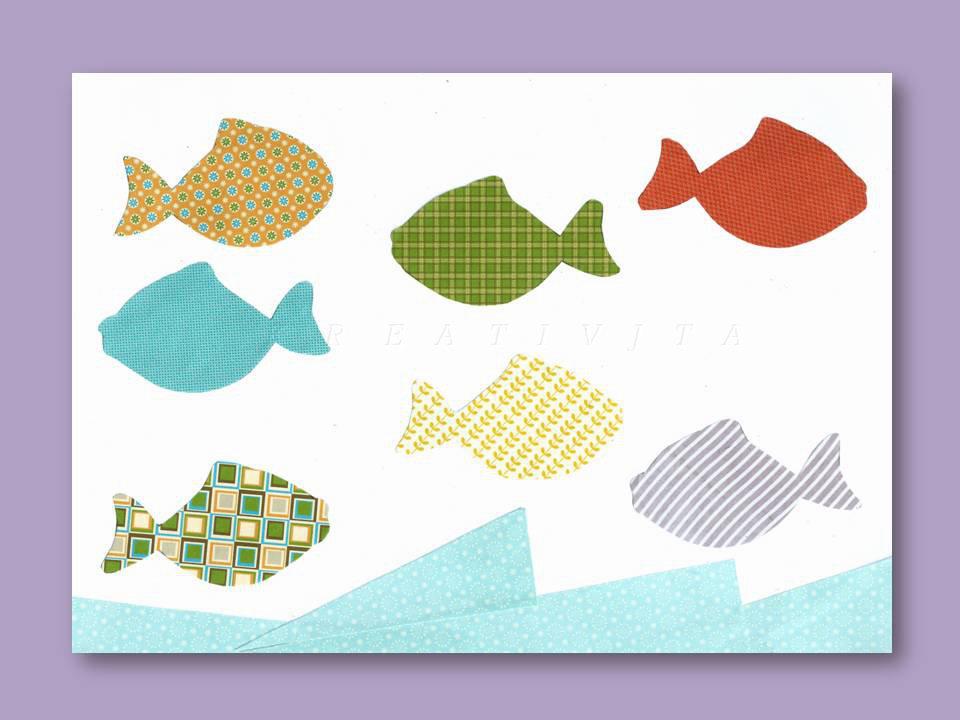 Stampa con pesciolini fantasia  e mare azzurro