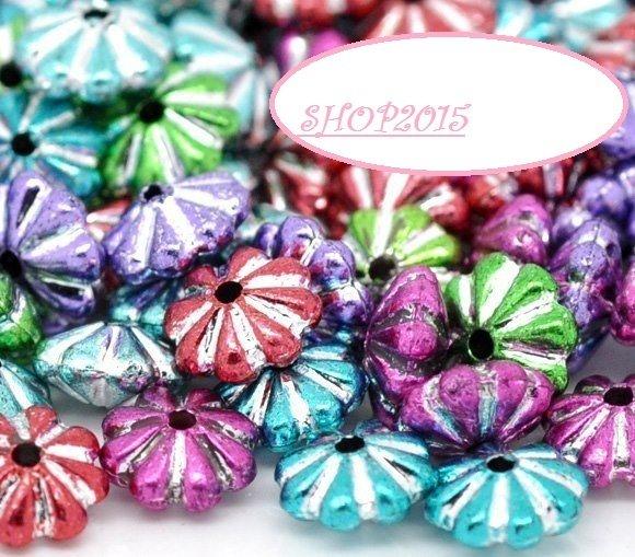 25  Mix distanziatori Perle rondelle a fiore 6x4 mm