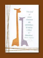 Stampa di aforisma di Dante Alighieri  con  giraffe e filli di lana