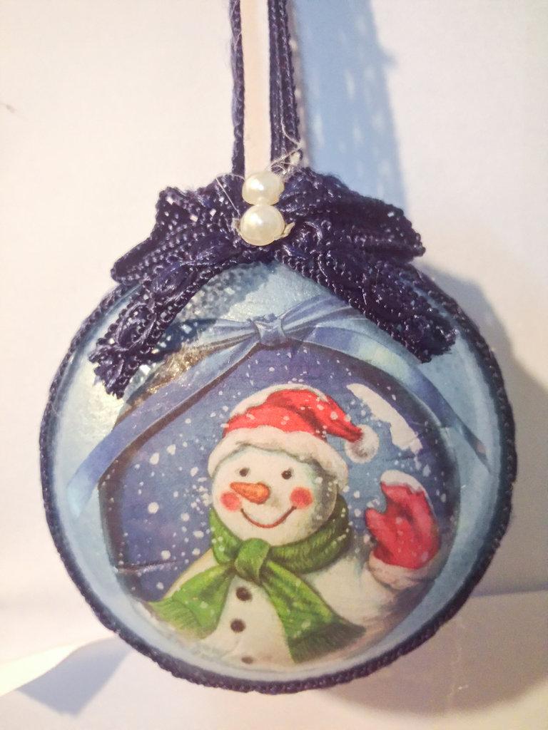 Medaglione Natalizio pupazzo di neve 2