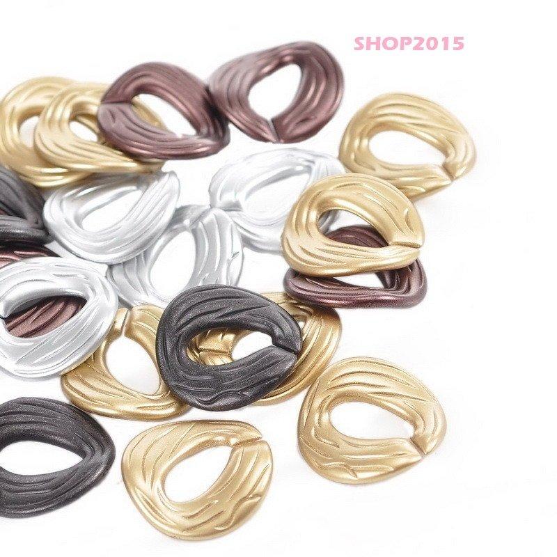 5 pz connettori anelli ovali apribili per creare collane 2,9x2,9 cm