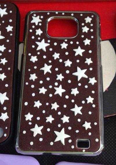 cover per galaxy s2 con pan di stella in fimo decorata a mano