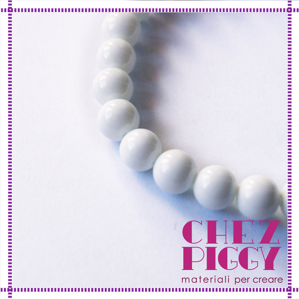 10 x perle di vetro lisce - Bianco