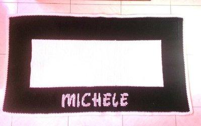 Tappeto in pura lana a crochet con nome ricamato - SOLO SU ORDINAZIONE (art.59)
