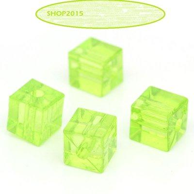 10 Distanziatori Perle a Cubo  Verde 7mmx8mm