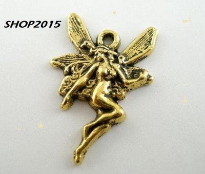 charms, ciondolo fatina color oro antico 21×15 mm