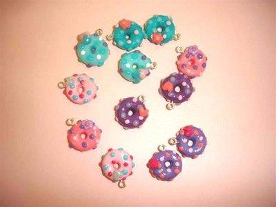 CIONDOLO FIMO - CIAMBELLA DONUTS - colori pastello  - per creare orecchini, collane, bracciali, braccialetti