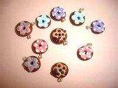 CIONDOLO FIMO - CIAMBELLA DONUTS - cioccolato  - per creare orecchini, collane, bracciali, braccialetti