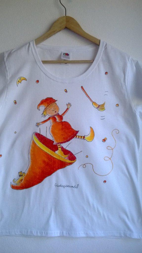 "t-shirt manica corta cotone ""strevolina"" dipinta a mano"