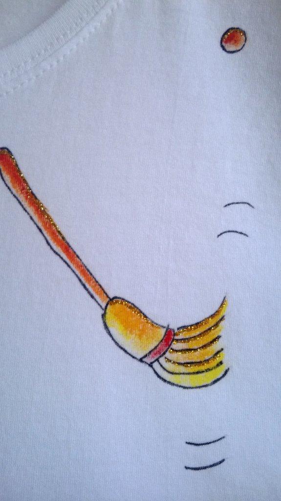 "t-shirt manica corta cotone ""strevolina"" dipinta a mano ..."