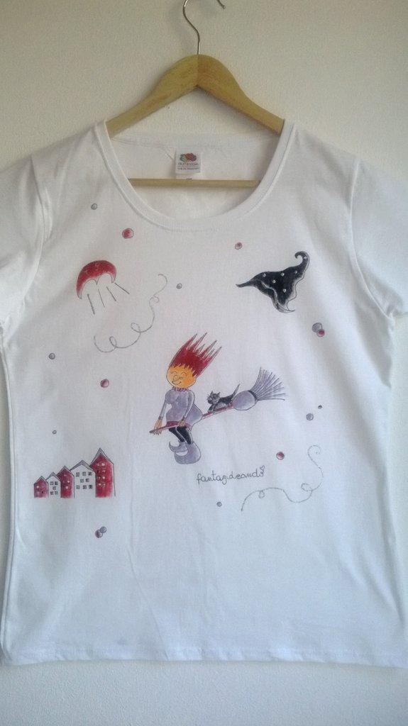 "t-shirt manica corta cotone ""SPIDIGHETTA"" dipinta a mano"