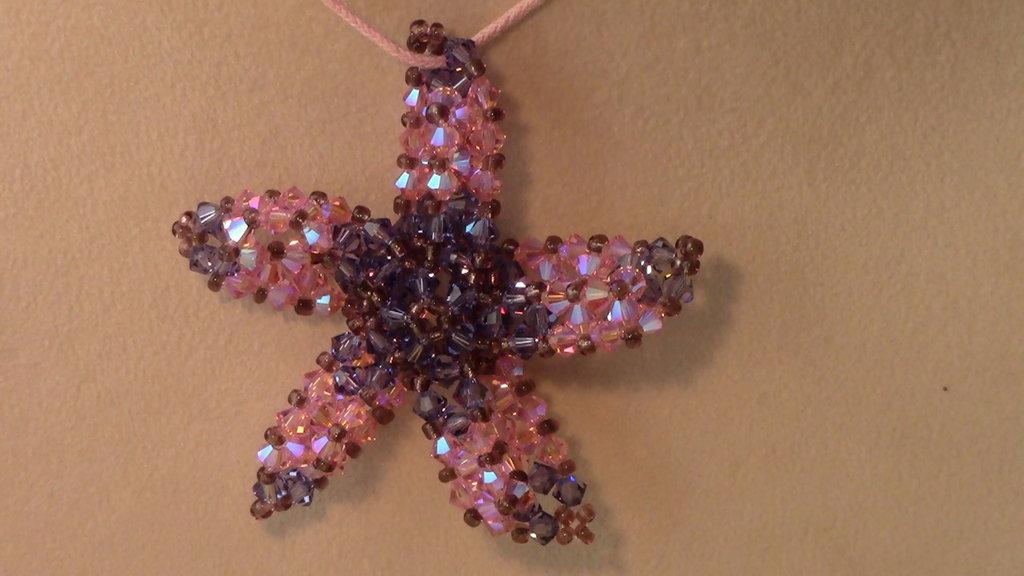 CIONDOLO  stella viola e rosa
