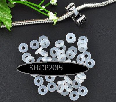 10 pz gommini fermaperle Anelli chiusi in gomma  neutro/bianco  6 mm foro 2 mm
