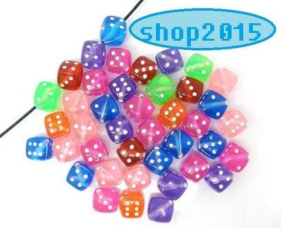 5 Distanziatori perle  a  Cubo dado vari colori trasparente 9 mm