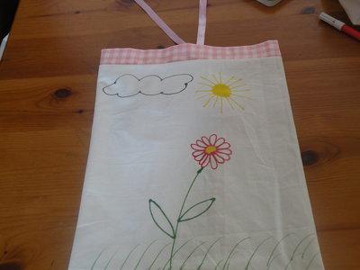 sacchetto zaino per asilo con fiori