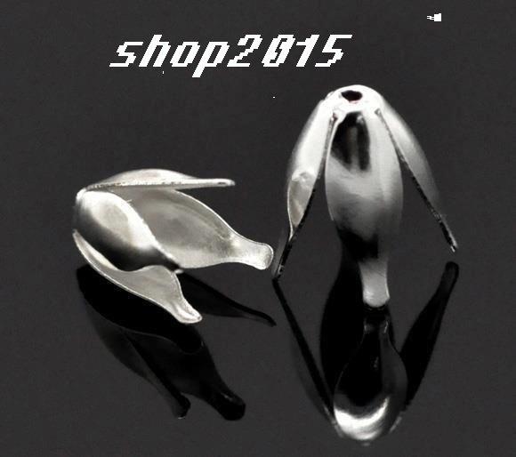 Coppette Copriperla Perline Fiore Argentato 13×8mm