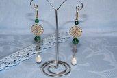 Orecchini artigianali fatti a mano agata striata verde e perla di fiume - idea regalo