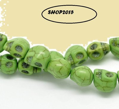 4 distanziatori perle forma cranio, teschio verde 10x8 mm