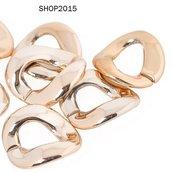 connettore anello contorto dorato apribile per creare collane circa 2 cm