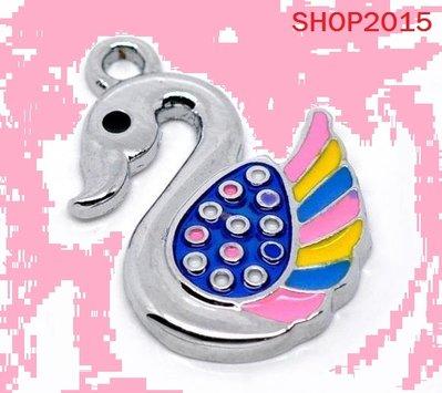 Charm ciondolo cigno Smaltato Multicolore 25×17mm