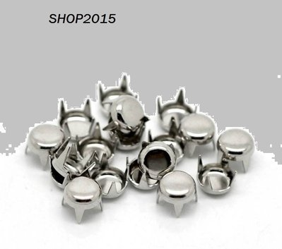 borchie Borchiette, a Rivetto Tondo  Argento scuro 5mm