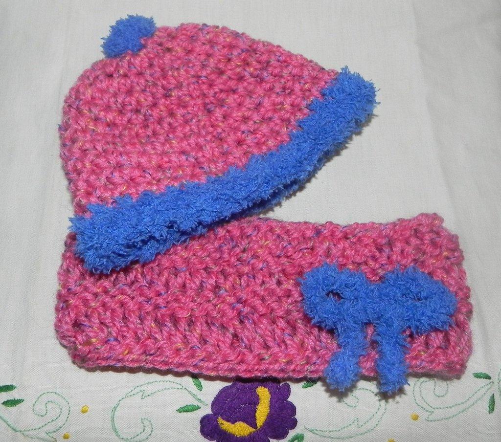 Scaldacollo e cappellino bambina misto lana
