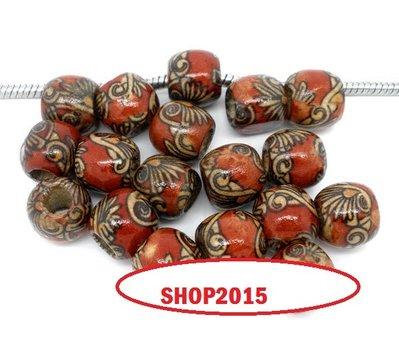 perla  perle foro largo in legno 11×12mm foro 5,3 mm