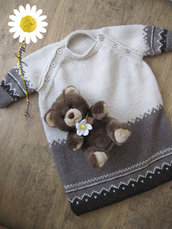 Sacco nanna in pura lana ecologica con lavorazione jacquard - fatto a mano