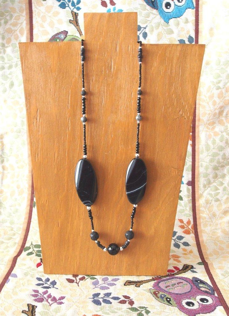 Collana Lunga con Ovali di Onice