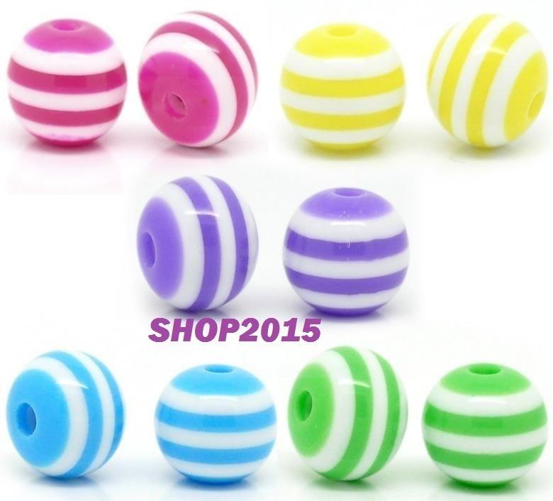 10 mix  Distanziatori Perle a Sfera  in resina 8 mm a striscee