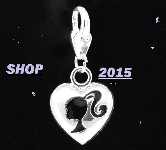 Charm ciondolo cuore con logo barbie con moschettone 3,3x1,5 cm