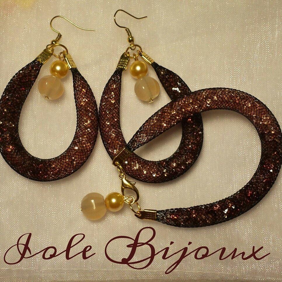 Orecchini e bracciale stile Stardust bicolor beige/marrone con pietre e perline